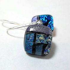 Dichroic Glass Earrings/Fused Glass by DarlenesGlassGarden on Etsy, $19.00