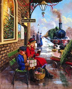 Train Station at Christmas - Desktop Nexus Wallpapers Christmas Train, Christmas Scenes, Christmas Pictures, Christmas Art, Winter Christmas, Illustration Noel, Christmas Illustration, Whimsical Christmas, Vintage Christmas Cards