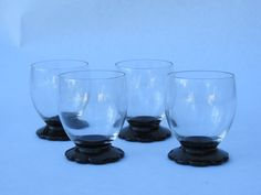 Set of 4 small cordial glasses with black stem by GiftedEnrichment on Etsy