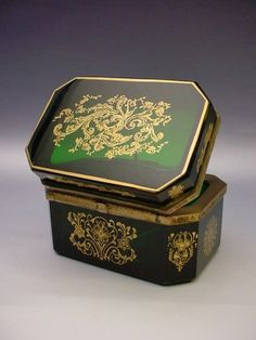 """Antique French Emerald Green Casket Hinged Box """" Stunning Gilding '"""