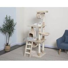 Nova Microdermabrasion 53 Inches Multi-Level Cat Tree Stand House Furniture Kittens Activity Tower with Scratching Posts Kitty Pet Play House Tree Cat, Large Cat Tree, Cat Tree Condo, Cat Condo, Cool Cat Trees, Cool Cats, Wood Dog House, Cat Toilet Training, Litter Box Enclosure