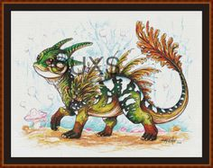 "Dragon cross stitch pattern - modern counted cross stitch chart - Licensed Artisan - ""Baby Forest Dragon"" by UnconventionalX on Etsy Modern Cross Stitch Patterns, Cross Stitch Designs, Modern Patterns, Dragon Cross Stitch, Unique Symbols, Dmc Floss, Pdf Patterns, Cross Stitch Embroidery, Overlays"