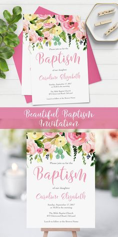 This beautiful baptism invitation is a great way to invite your friends and family to a special day in your little girl's life. The beautiful watercolor flowers and elegant typography make this a great selection for spring. baptism invitation for girls   watercolor baptism invitation   spring baptism invitation   printable christening invitation   christening invitation for girls