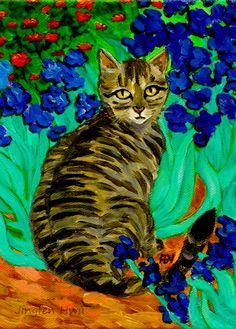 "cat art print, acrylic cat painting ""A Cat At Van Gogh's Irises Garden"" cat at garden, grey tabby, striped cat, by #jingfenhwu"