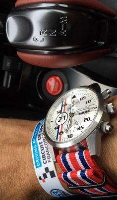 Maurice de Mauriac Chronograph Modern, Le Mans watch at the Circuit de Spa, Belgium.