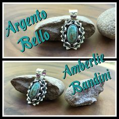 Argento Bello- Artist Amberlie Bandini. TURQUOISE AND Sterling Stamped pendant.