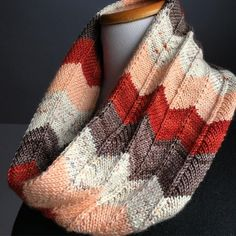 Free Knitting Pattern for Lila Cowl - Chevron lace striped cowl by Lux Adorna Knits. Pictured project by hadams.