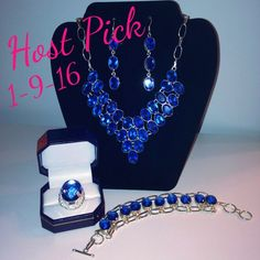 Host Pick !!  1-9-16 💃🏻 Sapphire  jewelry set Sapphire blue jewelry set, ring, bracelet, necklace & earrings. So stunning with anything you wear. Jeans, a tee or dress. Handmade & one of a kind. Crafted in 925 silver. No 2 are made alike. Perfect color for summer & fall. Great first finger ring sz 9. & bracelet is 7 -  8 inches w/extenders & earrings a little over 3 inches long. Necklace is adjustable & has lobster claw clasp. Lab created stones otherwise much more expensive. Glam Angel…