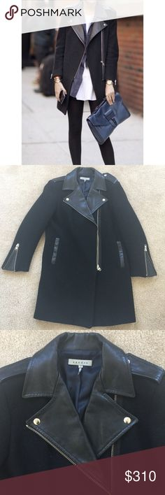 Sandro wool and leather coat 36 Worn in very good condition. Size 36=xs/s,❌NO TRADE‼️ Sandro Jackets & Coats