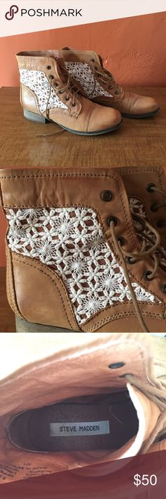 Steve Madden Thundr-C Leather Boots Beautiful cognac leather boots with ivory lace inserts by Steve Madden. Size 8.5. In excellent used condition. My friend wore these for her wedding! Steve Madden Shoes Ankle Boots & Booties