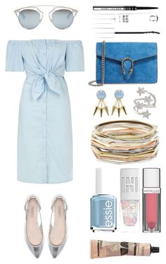 """#Street Style: Off the shoulder dress"" by sandycyh ❤ liked on Polyvore featuring Topshop, Gucci, Zara, Christian Dior, Gemma Crus, Ross-Simons, Maybelline, Marc Jacobs, Kendra Scott and Essie"
