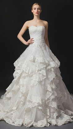 Breathtaking Lace Ball-gown Wedding Dress, Custom-made By GemGrace.