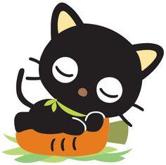 Chococat sleeping on a carrot