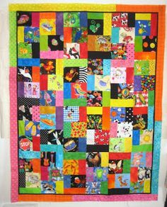 """In a recent post, I showed this very easy, very colorful """"I Spy"""" quilt I'm making for my niece's baby. Below are sizes of blocks and general..."""