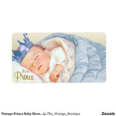 Vintage Prince Baby Shower Water Bottle Labels