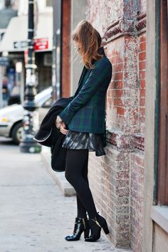 New York City Fashion and Personal Style Blog: Wool cape, plaid blazer, printed bubble skirt, patent leather booties