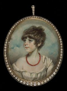 """Portrait of a Girl with Coral Necklace  George Engleheart, circa 1810, LACMA Collections Online"""