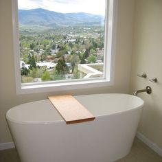 wall mount for free standing tub | Freestanding tub with wall mounted filler. Nice spot for a soak!