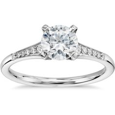 Blue Nile 3/4 Carat Preset Graduated Milgrain Diamond Engagement Ring ($2,400) ❤ liked on Polyvore featuring jewelry, rings, 14k diamond ring, 14 karat gold ring, vintage diamond jewelry, 14k ring and diamond rings