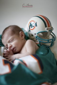 Ideas for Miami Dolphins newborn photos!