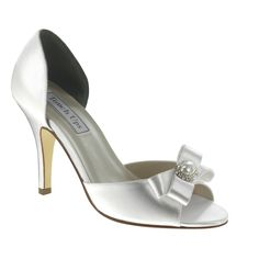 Gloria White Satin Dyeable Bow Open Toe Pumps Shoes