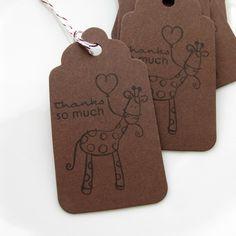 Giraffe Baby Tags Shower Favor Gift - Set of 8 - Custom Colors Available. $4.95, via Etsy.