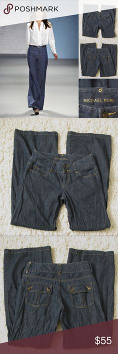 "Michael Kors Wide Leg Trouser Jeans Authentic MICHAEL KORS Wide Leg/Flare Trouser Soft Jeans. Size 6. Worn 2-3 times. Very good condition.                                                 Materials:  100% Cotton Measurements (laying flat): • Waist - 32"" around (actual) • Hips - 19"" • Front Rise - 9"" • Back Rise - 14""  • Inseam - 33.5""  • Length - 42""  • Leg Cuff - 12"" ~❌SWAP❌TRADE ~ ✔️❤️Bundles📦💕 ~✔️Smoke-free/pet-free home Michael Kors Jeans Flare & Wide Leg"