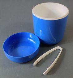 Retro 70s blue Decor space-age plastic ice bucket c/w tongs kartell-era