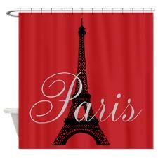Paris (rouge) Eiffel Tower Shower Curtain   #eiffletowershowercurtainglam