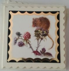 """Dormouse (or Field mouse) on blackberry 3"""" cream scalloped edge card using a Hunkydory topper"""