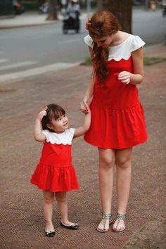 Xu hướng thời trang váy áo cặp đôi đẹp nhất cho mẹ và bé gái
