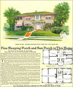 Model No. 535 - 1918 Gordon Van Tine - Mediterranean Style Two-Story Kit Home Design Floor Plans, House Floor Plans, House Plans With Pictures, Sleeping Porch, Vintage House Plans, Stucco Exterior, Mediterranean Homes, Historical Architecture, Mid Century House