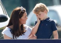 Catherine, Duchess of Cambridge comforts Prince George of Cambridge as they attend the Maserati Royal Charity Polo Trophy at the Beaufort Polo Club on June 2018 in Gloucester, England. Prince George Photos, Pictures Of Prince, Duke William, Prince William, Polo Match, Royal Life, Polo Club, Life Is Hard, Celebs