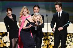 Emma Stone Trips Naomi Watts On Stage At SAG Awards —Watch