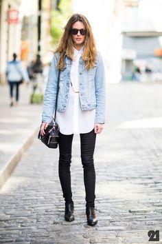 Crisp white shirt + denim jacket + long chain + black jeans + ankle boots // @dressmeSue