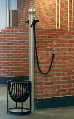 Love the way this is set up! A catch for brushes and tie rings on the wall so the crossties arent dangling!!!