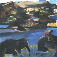 Two men on an elephant by Bhupen Khakhar
