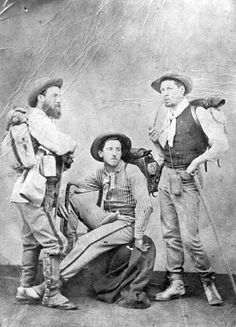 Photograph of Gilded Age era, American Sculptor, Augustus Saint-Gaudens, (center of photo). As a young man, in c.1871, on a hiking trip to Naples, Italy. ~ {cwl} ~~ (Image: nps.gov)