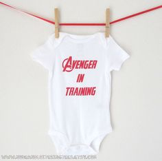 Superhero Onesie Avenger in Training Baby Avengers by NudeAndLoiteringTees, $12.00