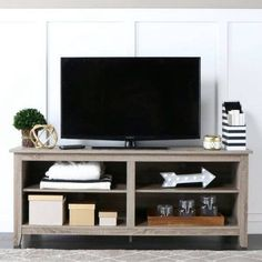Wood TV Stand for TVs up to 60 inch, Multiple Finishes, Gray