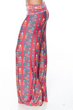 With extra wide legs and a bright, fun print, these palazzo harem pants are a bohemian inspired fashion must have for the season! Features a wide waistband. [Fashion Fusion Patterned Palazzo Pants - Pink]
