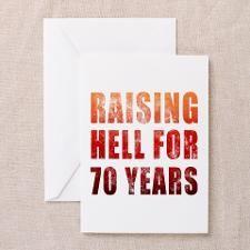 Raising Hell 70th Birthday Greeting Cards (Pk of 2
