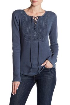 NWT Lucky Brand Women's Lace up Bib Thermal Top Cotton Knit Size Large Blue  #LuckyBrand #ThermalStyling #lace #womensstyle #womensfashion #womensapparel #fashion #style #apparel