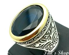 Men's Ring, Turkish Ottoman Style Jewelry, 925 Sterling Silver, Gift, Traditional Handmade, With Sapphire Stone, US Size 11, New