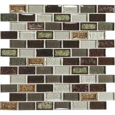 Daltile Crystal Shores Crackle Glass - CS94 Hazel Harbor Blend - 1 X 2 Brick Joint Subway Dal Tile Glass Mosaic