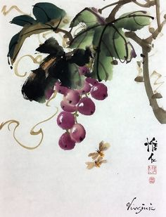 How to Paint Grapes video Vine Drawing, Branch Drawing, Leaf Drawing, Chinese Painting Flowers, Grape Painting, Japanese Art, Japanese Painting, Chinese Art, Chinese Brush