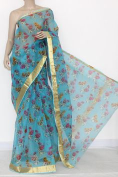 Sky Blue JP Kota Doria Printed Cotton Saree (without Blouse) Zari Border & Pallu 15306