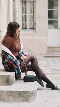 """Coat Weather -  As first seen on blog """"Meet Me In Paree"""" here: Coat Weather  She is wearing tights similar here: Black Matte Opaque Tights A flattering matte finish distinguishes these versatile tights made with flat seams and a wide waistband for long-lasting comfort.  #tights #pantyhose #hosiery #nylons #tightslover #pantyhoselover #nylonlover #legs"""