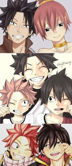 The Dragneel Family. Zeref like his mother. Natsu more like his father :3 .