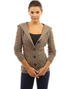 PattyBoutik Women's Wool Blend Hooded Cable Cardigan (Brown M)